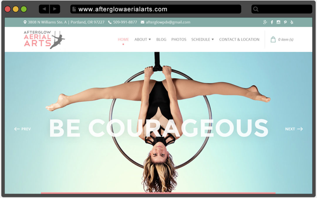Redesigned website for Afterglow Aerial Arts
