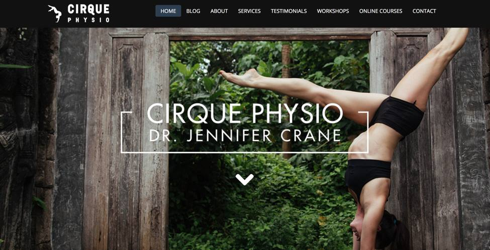 Redesigned website for Cirque Physio